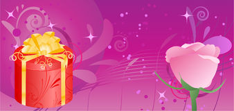 Banner with gift and rose Stock Photos