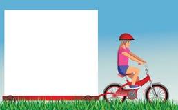 Banner girl on bike. Girl on bike with advertising banner Stock Photography