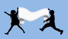 Banner Girl and Boy 1 Royalty Free Stock Images
