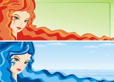 Banner with girl's face Royalty Free Stock Photo