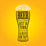 Banner with glass of beer on a yellow background Stock Images