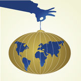 Banner with globe. In gold, blue and white Stock Image