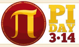 Round Button with Golden Pi Symbol for Pi Day Celebration, Vector Illustration. Banner with glossy red button, golden pi symbol inside and reminder date to stock illustration