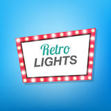 Banner with glowing ligh bulbs. Retro sign Royalty Free Stock Images