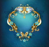 Banner with gold butterflies Royalty Free Stock Image