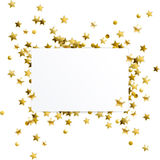 Banner with Gold Confetti Stars stock illustration