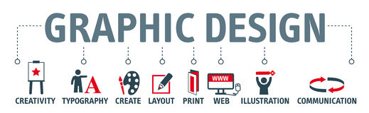Banner Graphic design concept. Graphic design. Banner with keyword and icons Royalty Free Stock Images