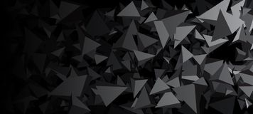 Banner with gray 3d triangles. Gray abstract banner with 3d triangles. Vector geometric illustration Royalty Free Illustration