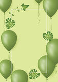 Banner with green balloons and leaf on greenery background. Copy space for your text. Vector Illustration Stock Photography