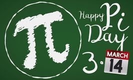 Chalkboard with Pi Symbol and Calendar for Pi Day Celebration, Vector Illustration royalty free illustration