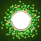 Banner with green confetti and clover leaves. Abstract vector round banner with green confetti and clover leaves. Design for St. Patrick`s Day Royalty Free Stock Images