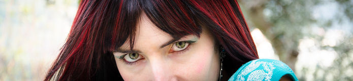 Banner with green eyes Stock Images