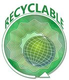 Banner in green with globe on green star shape with round arrow, symbol for recyclable product Royalty Free Stock Photos