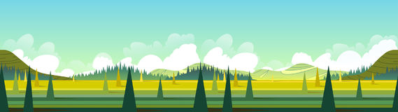 Banner With Green Landscape, Vector Illustration Stock Photos