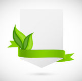 Banner with green ribbon and leaves Stock Photos