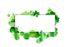 The banner on the green splashes of watercolor. Royalty Free Stock Images