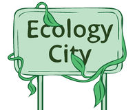 Banner greenest city. Old green banner ecology town vector illustration