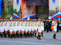Banner group of female military unit on parade rehearsal Royalty Free Stock Photography