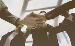 Free Banner  Group Of Young  People Stack In Hands Teamwork Together Stock Images - 189326274
