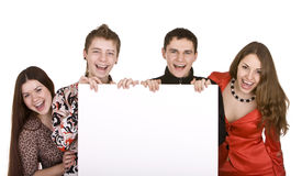 Banner and group of young people. Stock Image