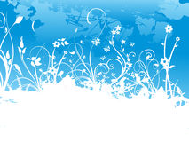 Banner grunge floral background, blue Royalty Free Stock Photography