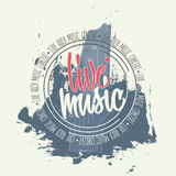 Banner with guitar and lettering around circle. Invitation to rock music concert stock illustration