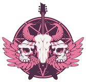 Banner with guitar, skulls, wings and pentagram. Vector illustration with skulls of a horned animal and human, electric guitar and wings on the background of the Royalty Free Stock Images