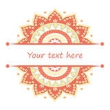 Banner with Half of mandala ornament. Royalty Free Stock Photo