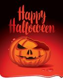 Banner for halloween party with a broken pumpkin Royalty Free Stock Photos