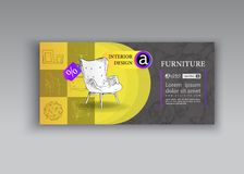 Banner of hand drawn furniture store, apartment, promotion, sale, ads. Furniture and interior detail store, apartment, promotion, sale, ads, banner sketch hand royalty free illustration