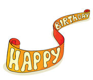 Banner - Happy Birthday. Vector illustration - a ribbon with the inscription Happy Birthday vector illustration