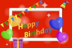 Banner happy birthday. Greeting card with a birthday party with balloons, a party cap and ribbons. Flat design,  illustration Stock Photography