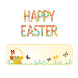 Banner Happy easter basket with Easter eggs with butterflies   vector Stock Photo