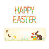 Banner Happy easter Bunny and basket with Easter eggs and butterfly vector Stock Image