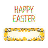 Banner Happy easter daffodil with willow vector Royalty Free Stock Images