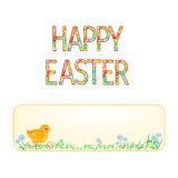 Banner Happy easter Easter chicks and  Easter eggs  vintage vector Royalty Free Stock Photography