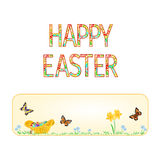 Banner Happy easter  wicker basket with Easter eggs with butterflies   vector Royalty Free Stock Photos