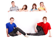 Banner with happy group people. Royalty Free Stock Photo