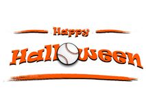 Banner happy halloween and baseball ball Stock Images