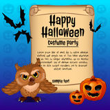 Banner happy Halloween and owl with two pumpkins Stock Photos