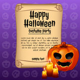 Banner happy Halloween and pumpkin with candles Royalty Free Stock Photo