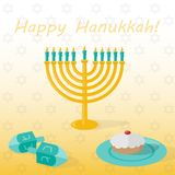 Banner Happy hanukkah with candlestick with candles, cakes and dreidel. Vector illustration. vector illustration