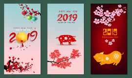 Banner Happy new year 2019. Happy New Year 2019. Chienese New Year, Year of the Pig royalty free illustration