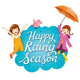 Banner Of Happy Rainy Season With Two Girls Jumping Playfully An royalty free illustration