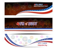 Banner Happy 4th July independence day  with fireworks bacground Royalty Free Stock Photos