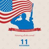 Banner of happy veterans day . Vector image. Creative illustration,poster or banner of happy veterans day with USA flag background. Vector image Royalty Free Stock Photography
