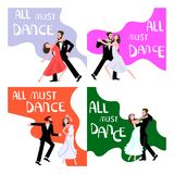 Banner happy young people dancing. All must dance dancing-party or ballroom studio poster. Flat Art Vector illustration vector illustration
