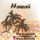 Banner with Hawaii palms in grunge vintage style for summer desi Stock Photos