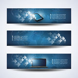 Banner or Header Designs, Cloud Computing, Network. Set of Blue Horizontal Headers or Banners with Abstract Arrows, Mobile Computing Devices and World Map Design Royalty Free Stock Photos