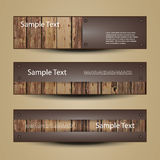 Banner Or Header Designs with Wooden Surface. Brown Banners or Headers with Abstract Wooden and Metallic Surface Designs in Freely Scalable and Editable Vector Stock Images